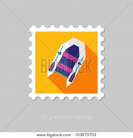 Inflatable boat flat stamp with long shadow