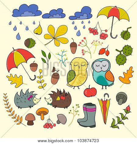 Set Of Cute Cartoon Characters And Autumn Elements. Vector Doodle Illustration