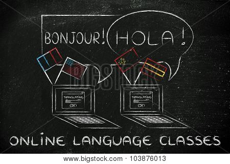 Online Language Classes: Laptop With Different Flags