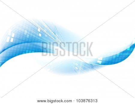 Light blue tech motion background. Waves vector design