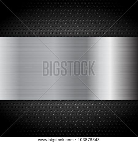 Metal texture plate on perforated background. Vector design