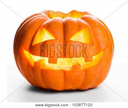 Single Halloween pumpkin. Scary Jack O'Lantern face
