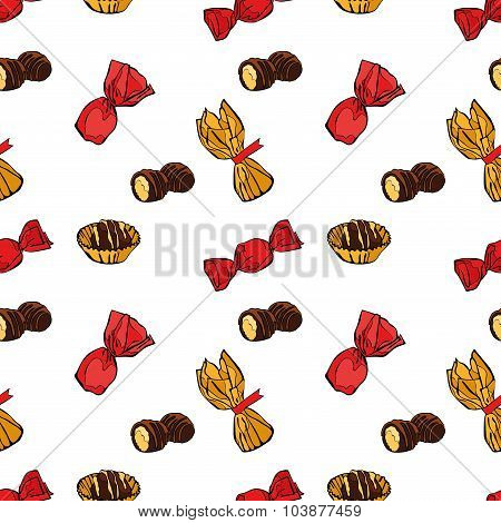 Candies. Chocolate candies. Colored wrappers and candy wrappers. Vector seamless background.