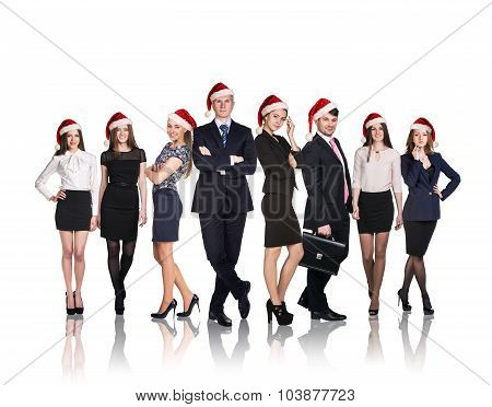 Business people in a xmas hat