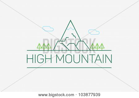 Vector High Mountain Logo And Emblem In Outline Style - Abstract Design Elements Of Corporate Identi