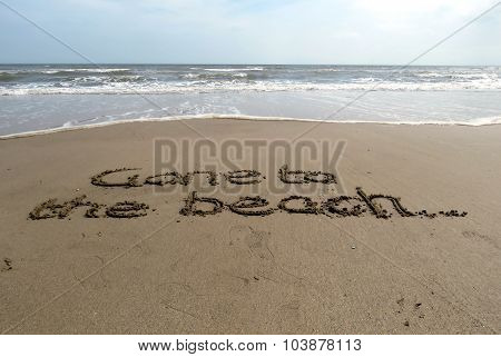 Gone to the Beach written in Sand