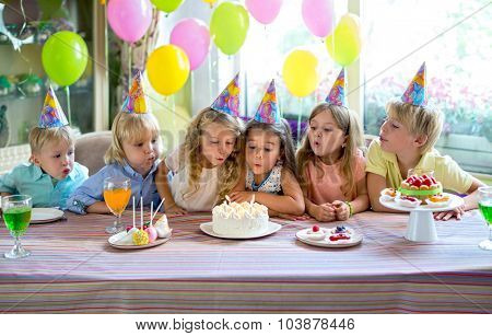 Little children at a birthday party