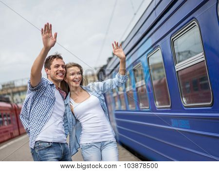 Young couple at the train