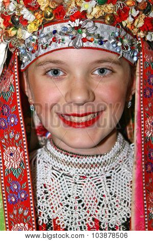 ZAPRESIC, CROATIA - NOVEMBER 17, 2007: Little girl's portrait in Croatian national costume
