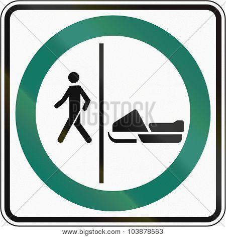 Pedestrian And Snowmobile Lane In Canada