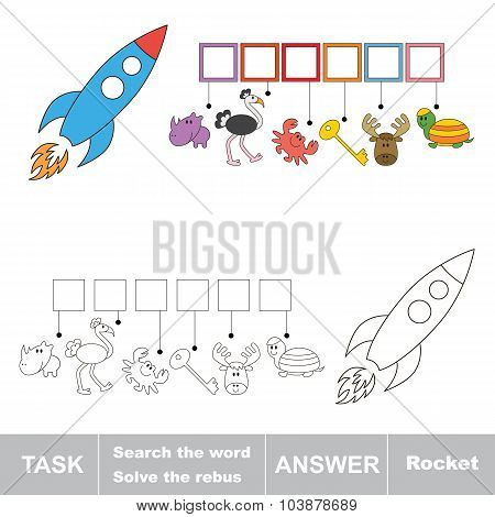 Vector game. Find hidden word rocket. Search the word.