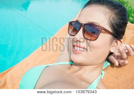 Attractive Lady In The Pool