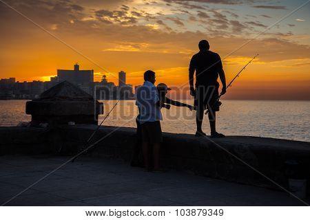 Group Of Friend Fishing At Malecon,  In Havana, Cuba.