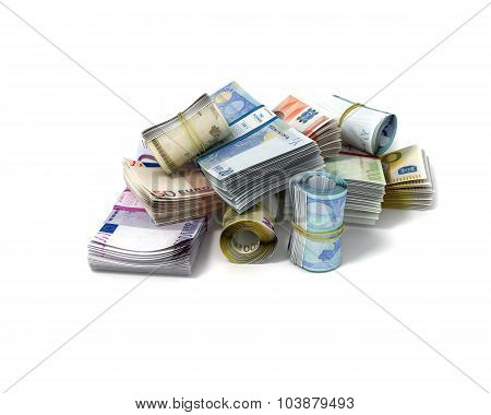 Rolls And Stacks Of Euro Bank Notes