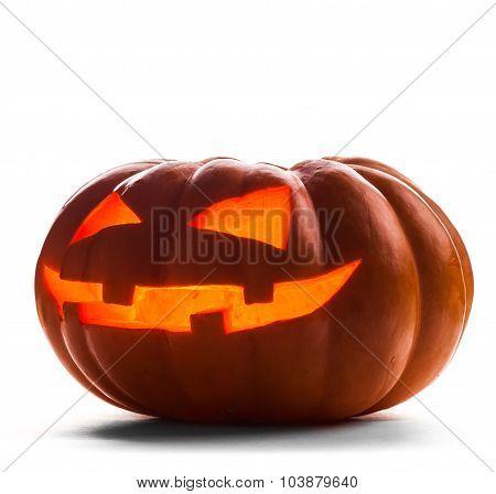 Single Halloween pumpkin. Scary Jack O'Lantern face
