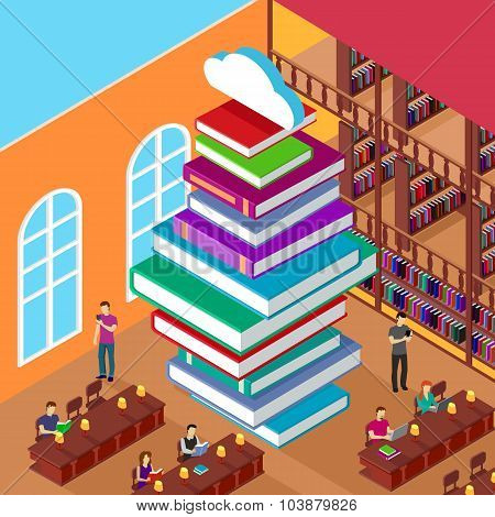 Isometric Library. Stack Books. Concept Knowledge
