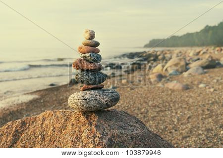 Sustainable Cairn At Sea In Pastel Colors
