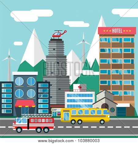 Buildings and city transport flat style illustration. Flat design city downtown background. Roads and city buildings, sky and mountains. Architecture small town market, hospital, church, shop, bus