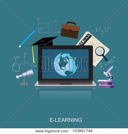 e learning concept, education, science, flat vector illustration