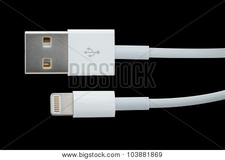 Usb Cable On Black / Usb Cable / Usb Cable Isolated On Black Background