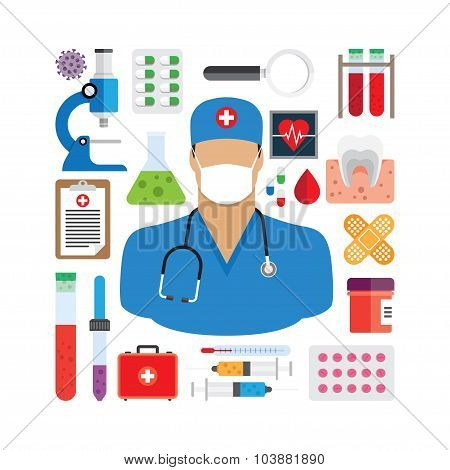 vector illustration of medical icons