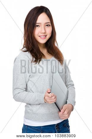 Woman hold with laptop computer