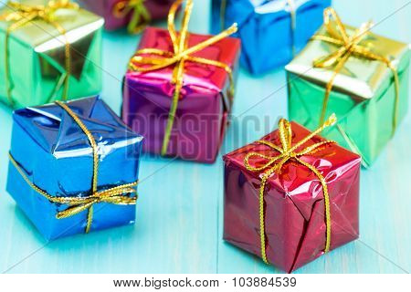 Gift Boxes On Blue Wood Background