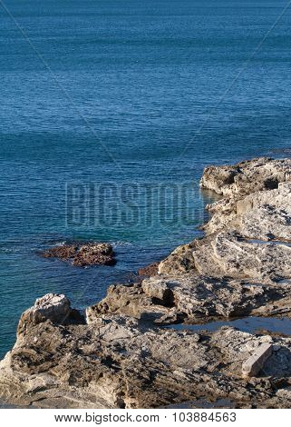 Rocky shore of the bay of Adriatic sea