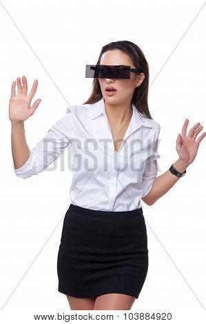 Beautiful business woman with futuristic glasses