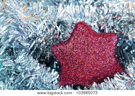 Red Christmas Bauble And Silver Tisel