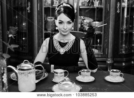 Beautiful Girl At The Image Of Audrey Hepburn