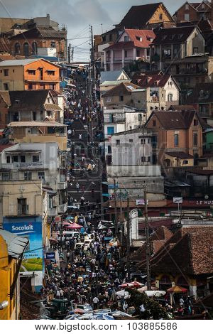 ANTANANARIVO, MADAGASCAR - DECEMBER 06 People walk on the hilly streets of the central area of the city, December 06, 2013, Antananarivo, Madagascar.