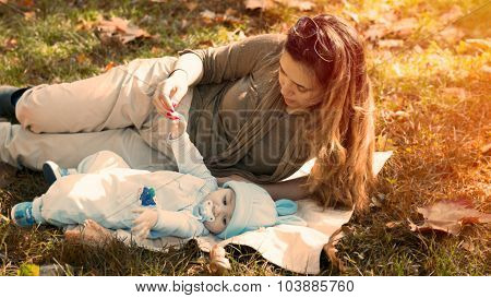 Inspiring Moment Of Mother And Little Baby In Nature