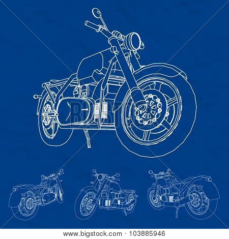 Road bike. Motorcycle in the contour lines. Silhouette of a motorcycle. The contours of the motorcyc