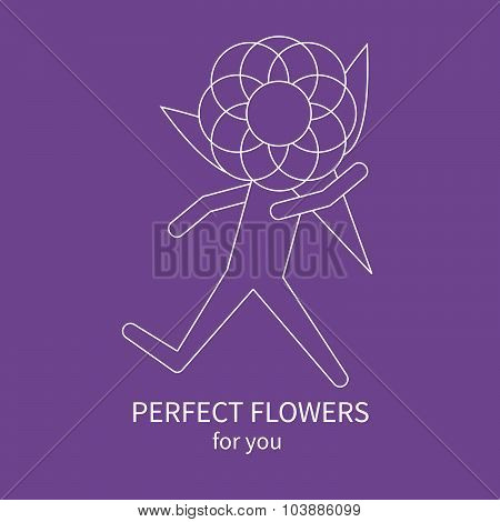 Line Icon Of Running Man, Courier With A Bouquet Of Flowers On Purple Background.