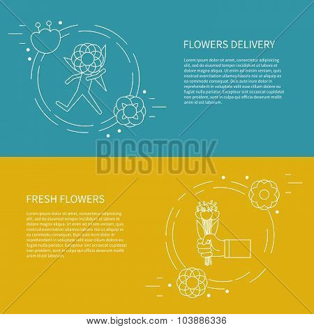 Two Flyers, Card With Running Man, Courier, Hand With A Bouquet Of Flowers.