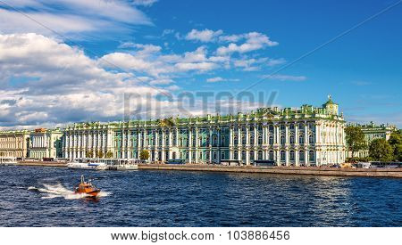 View Of The Winter Palace With The Neva River In Saint Petersburg - Russia