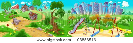 View on the countryside and the city. Vector illustration