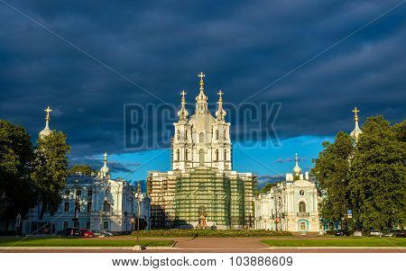Smolny Cathedral In Saint Petersburg - Russia