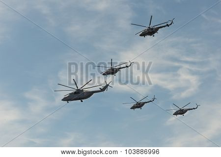 Group Of Helicopters Mi-8 And Mi-26