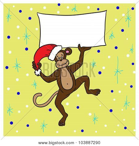 Monkey In A Red Cap Holding A Poster With Congratulations Happy New Year 2016.