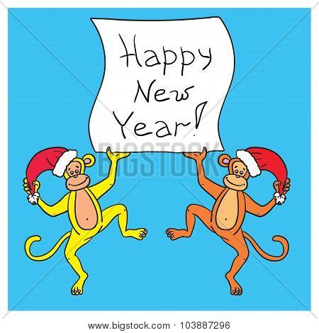 Two Monkeys Holding A Poster With A Congratulation Happy New Year 2016