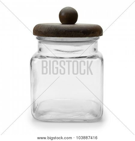 Glass jar with wooden lid, isolated on white.