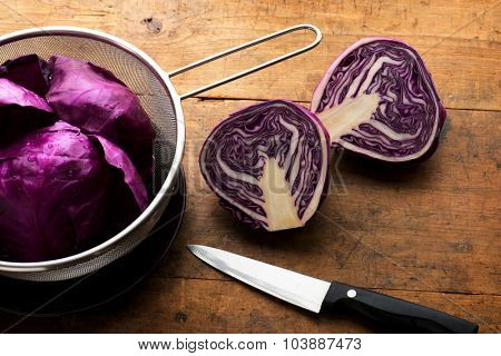 Red cabbage. Preparing and cutting red cabbage for cooking.