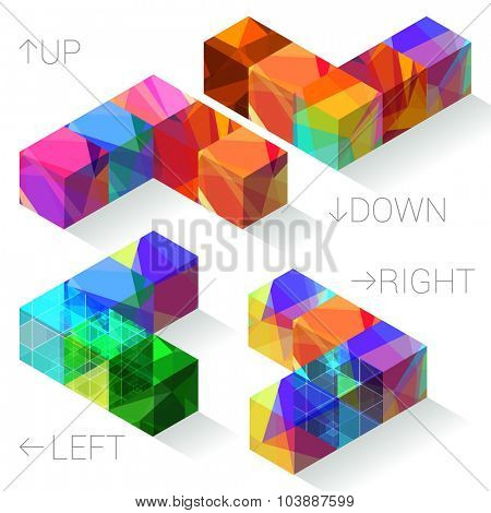 Refracting color polygon textured arrows. Vector design element set/