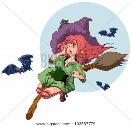 Beautiful witch woman flying on broomstick. Halloween story