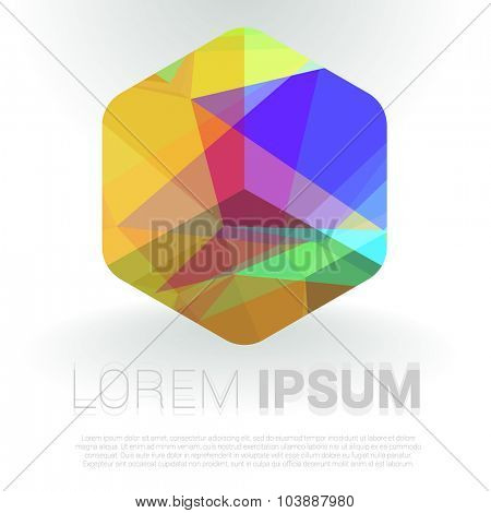 Refracting colorful cube. Vector template.