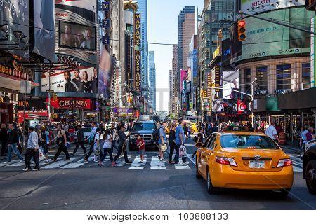 NEW YORK CITY, USA - SEPTEMBER, 2014: 42nd street near Times Square New York City