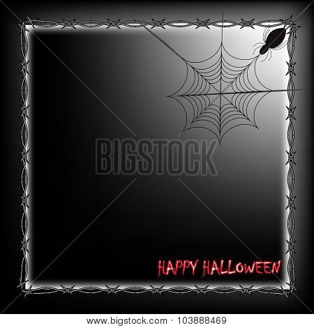 Happy Halloween Frame With Spider