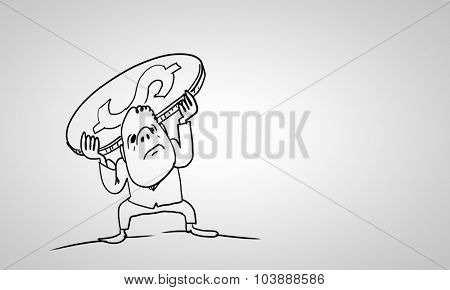 Caricature of funny businessman with coin on back on white background